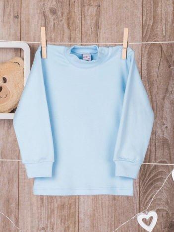 Niebieska  bawełniana klasyczna bluzeczka niemowlęca z półgolfem  dla chłopca i dziewczynki