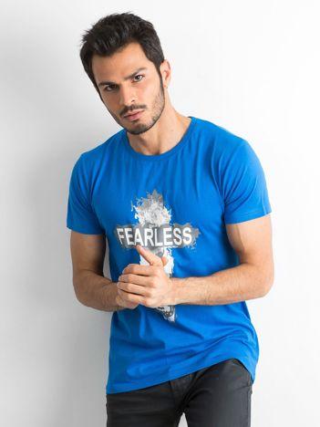Niebieska bawełniana koszulka męska z nadrukiem