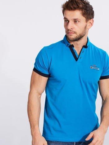 Niebieska bawełniana męska koszulka polo