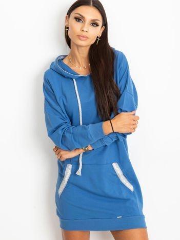 Niebieska bluza damska z kapturem