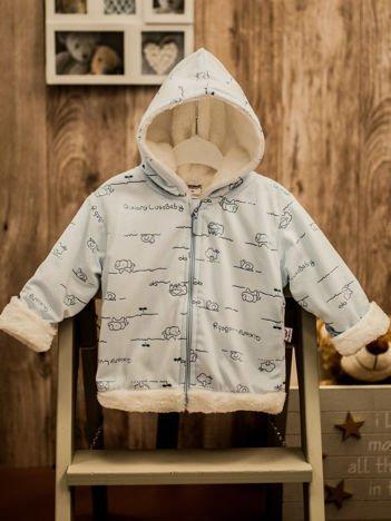 Niebieska bluza niemowlęca bluza z kapturem w motyw zwierzątek