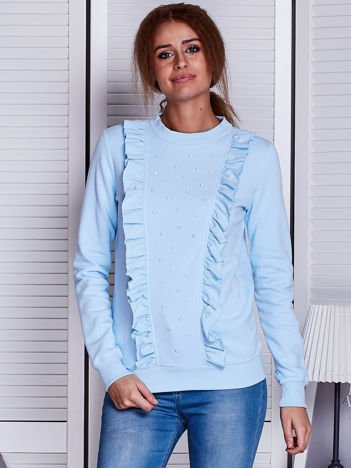 Niebieska bluza z kolorowymi perełkami i falbankami