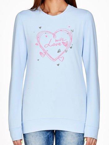 Niebieska bluza z napisem WITH LOVE