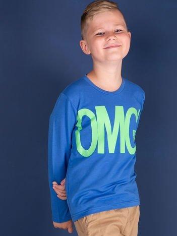 Niebieska bluzka dla dziewczynki z napisem OMG