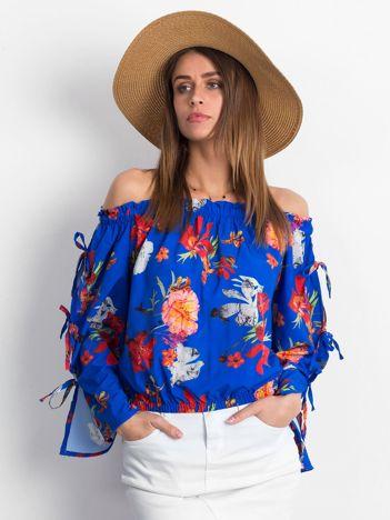 Niebieska bluzka hiszpanka w kolorowe kwiaty