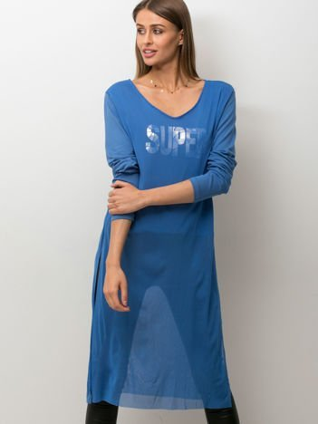 Niebieska bluzka z siatkową warstwą