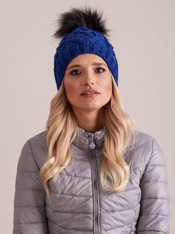 Niebieska czapka zimowa damska