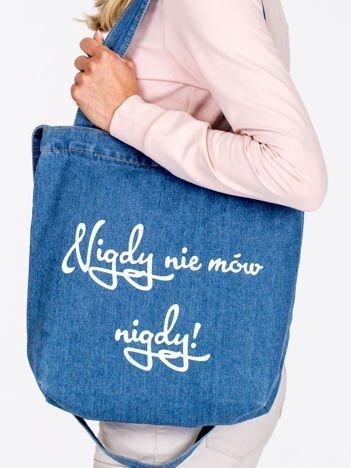Niebieska denimowa torba bawełniana z nadrukiem