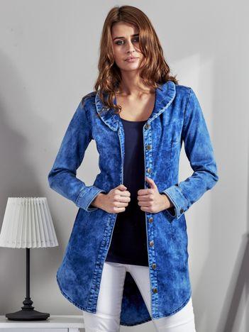 Niebieska denimowa tunika z kołnierzykiem