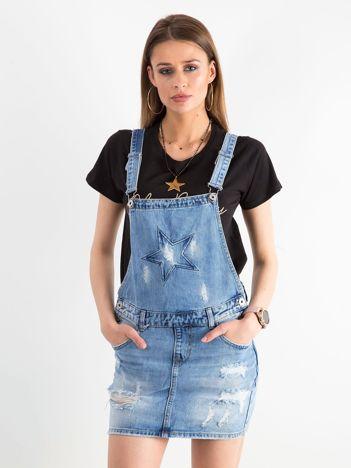 Niebieska jeansowa spódnica z szelkami
