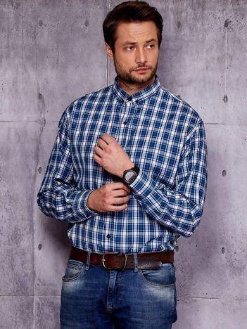 Niebieska koszula męska w kolorową kratę PLUS SIZE