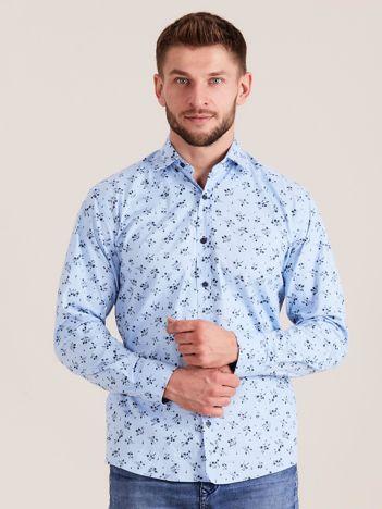 Niebieska koszula męska w roślinne wzory