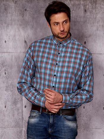 Niebieska koszula męska we wzór kolorowej kraty PLUS SIZE