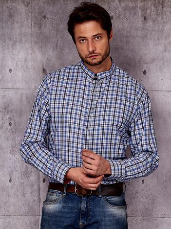 Niebieska koszula męska we wzór kraty PLUS SIZE