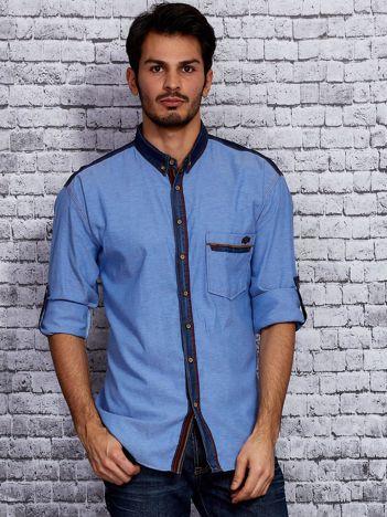 Niebieska koszula męska z jeansowym kołnierzykiem PLUS SIZE