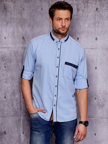 Niebieska koszula męska z zamszowymi wstawkami