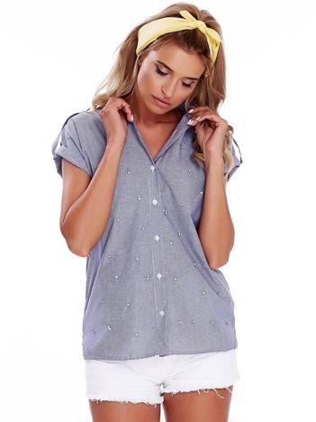 Niebieska koszula w paski z aplikacją