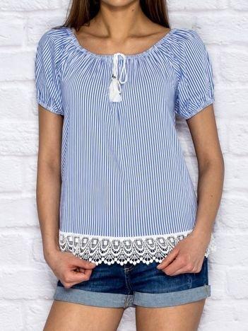 Niebieska koszula w paski z koronką
