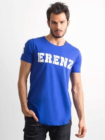 Niebieska koszulka męska z napisem
