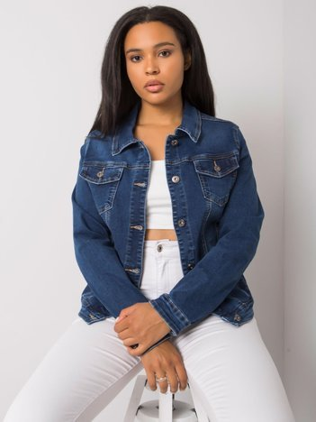 Niebieska kurtka jeansowa plus size Ardine