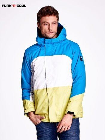 Niebieska kurtka męska z kolorowymi modułami FUNK N SOUL