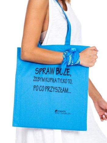 Niebieska materiałowa torba z napisem