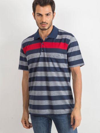 Niebieska męska koszulka polo Stampede