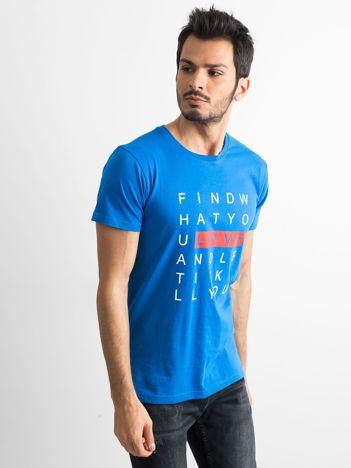 Niebieska męska koszulka z nadrukiem