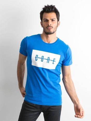 Niebieska męska koszulka z printem
