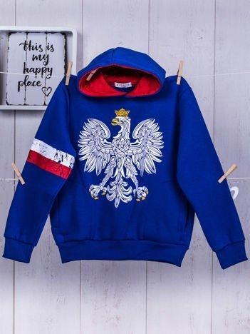 Niebieska ocieplana bluza chłopięca z patriotycznym nadrukiem