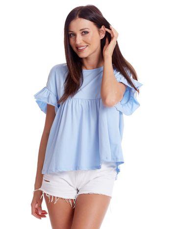 Niebieska odcinana bluzka z wycięciem łezką z tyłu