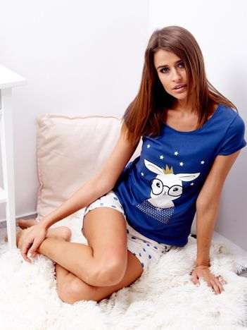 Niebieska piżama damska z nadrukiem