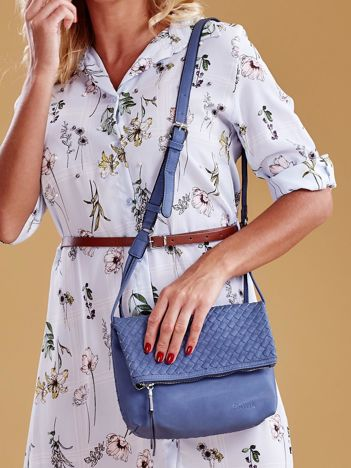 Niebieska składana torebka listonoszka-worek z plecionką