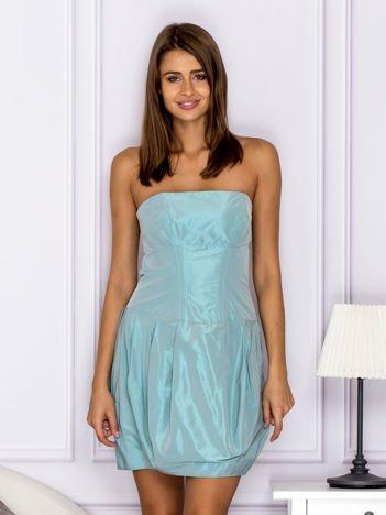 Niebieska sukienka bombka z połyskiem