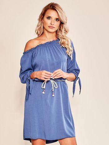 Niebieska sukienka hiszpanka z wiązaniem