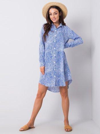 Niebieska sukienka we wzory Lorraine