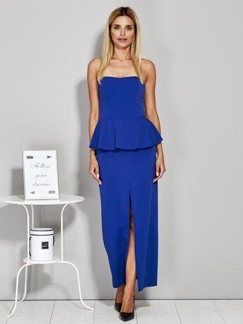 Niebieska sukienka wieczorowa z baskinką PLUS SIZE