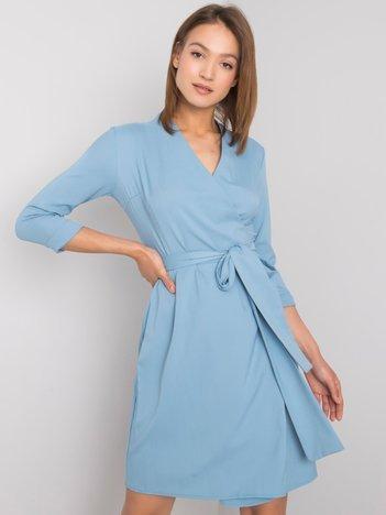 Niebieska sukienka z wiązaniem Edelie