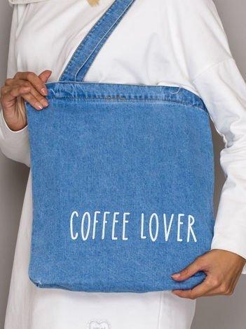 Niebieska torba jeansowa COFFEE LOVER
