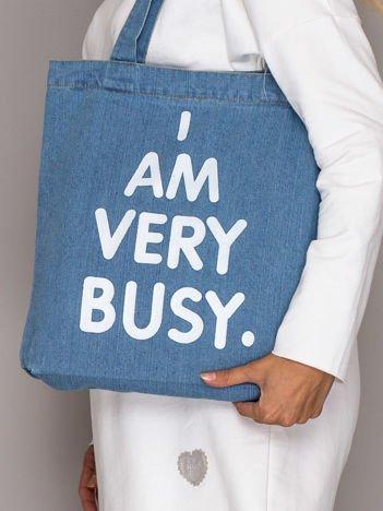 Niebieska torba jeansowa I AM VERY BUSY