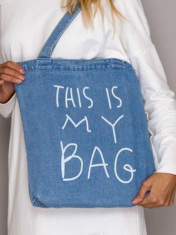 Niebieska torba jeansowa THIS IS MY BAG