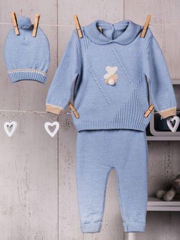 Niebieski 3-częściowy ciepły komplet dzianinowy niemowlęcy z misiem