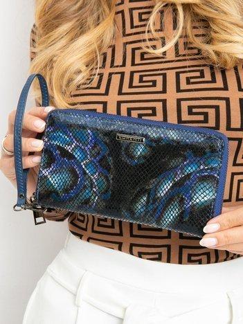 Niebieski duży portfel skórzany na suwak