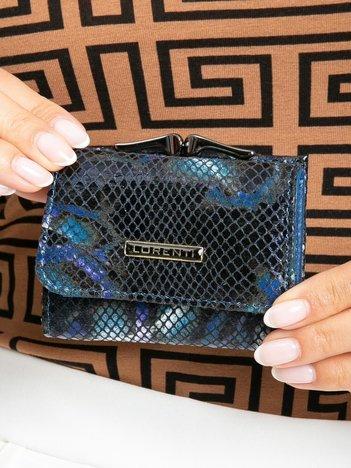 Niebieski mały portfel skórzany