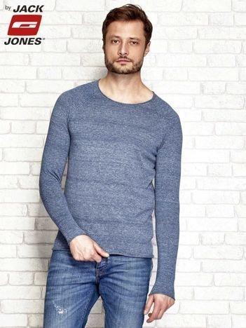 Niebieski melanżowy sweter męski