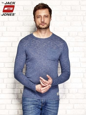 Niebieski melanżowy sweter męski z kieszonką