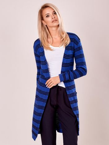 Niebieski otwarty sweter w prążek