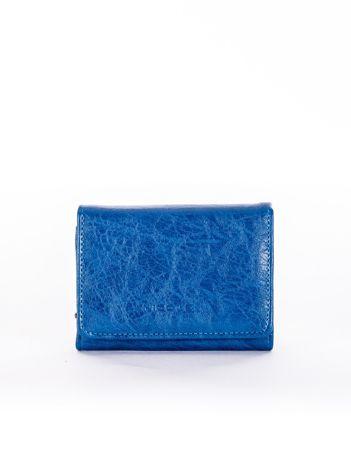 Niebieski portfel damski z ekoskóry