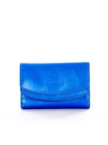 Niebieski portfel skórzany damski