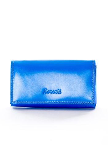 Niebieski portfel ze skóry naturalnej